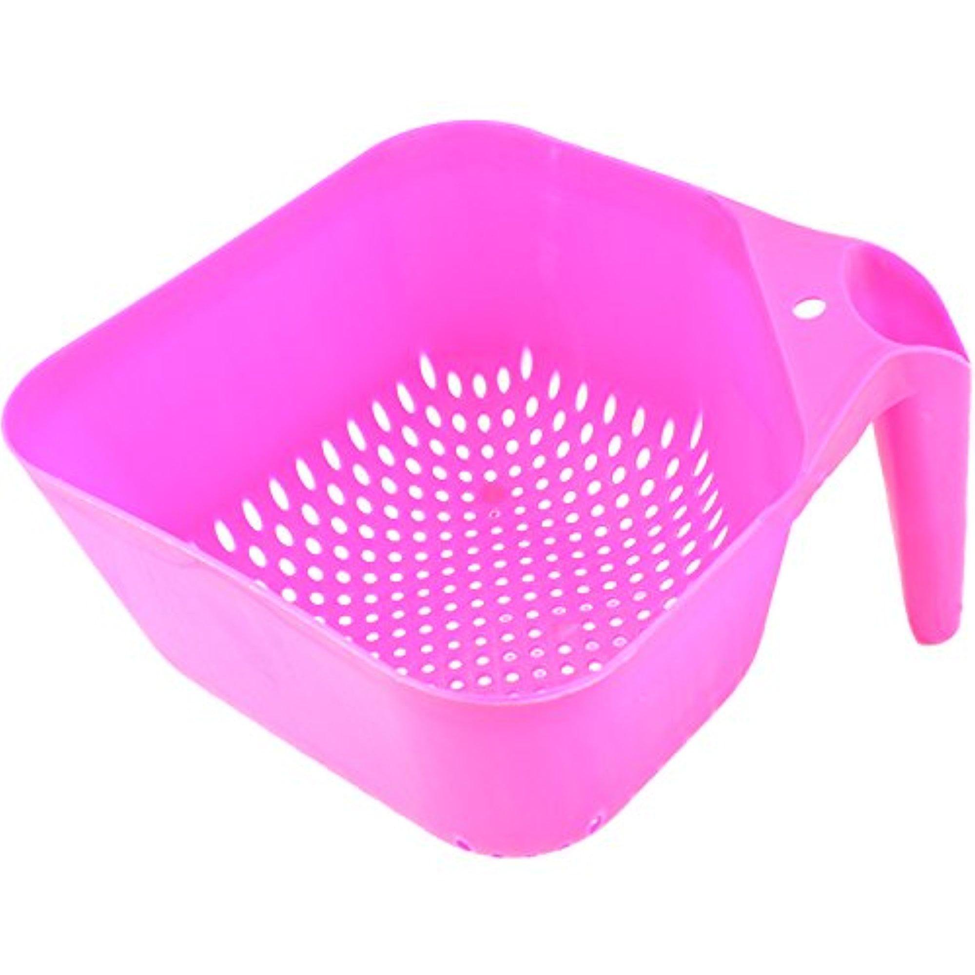 Square Kitchen Colander Strainer with Handle BPA-Free by bogo Brands (Pink)