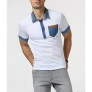 Mens Short Sleeve Polo Shirt with Denim Details