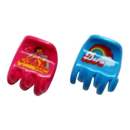 Dora the Explorer Pink and Light Blue Colored Plastic Hair Clips (2 - Blue And Pink Hair