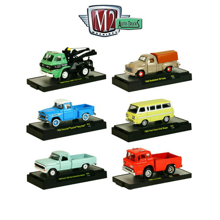 auto trucks 6 piece set release 34 in display cases 1 64 diecast models by m2. Black Bedroom Furniture Sets. Home Design Ideas