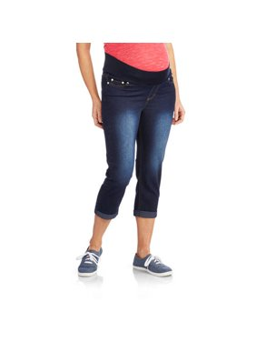 Maternity Roll Cuff Underbelly Denim Capris - Available in Plus Sizes