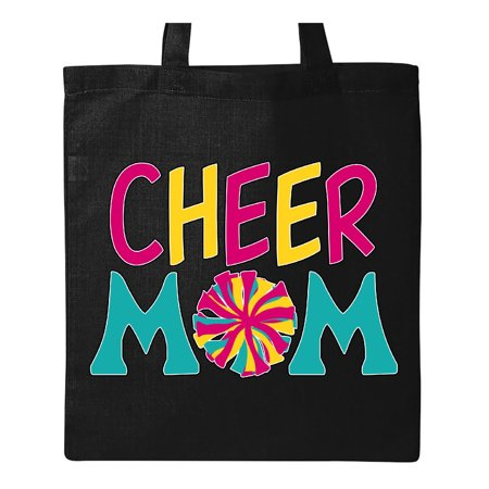 Cheer Mom- red, yellow, teal pom pom Tote Bag Black One