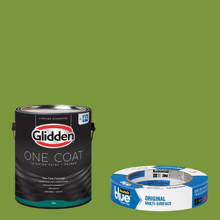 Glidden One Coat, Interior Paint + Primer, Antique Moss, Eggshell Finish, Quart with ScotchBlue Painters Tape Original Multi-Use, .94in x 60yd(24mm x 54,8m Bundle