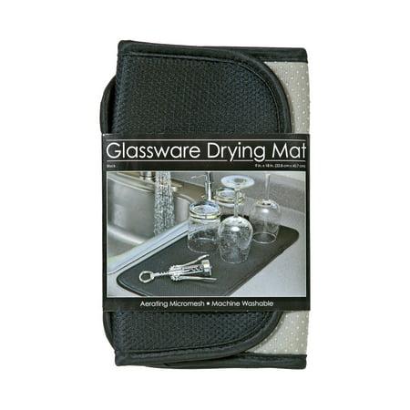 S&T Microfiber Glassware & Barware Drying Mat - Black (Glass Mats)