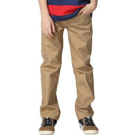 - Leo&Lily Boys Kids 100% Cotton Twill Elastic Waist Regular Fit Pants Trousers (Khaki,10) LLB439