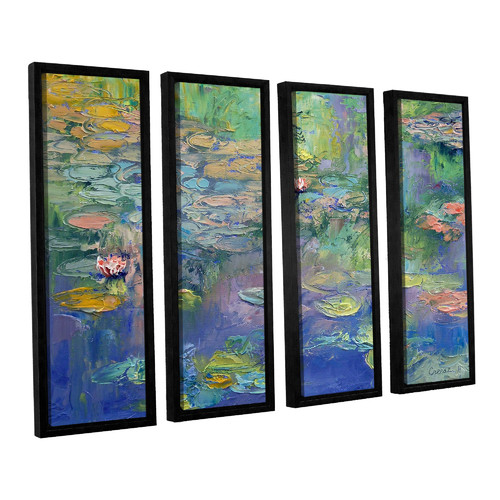 ArtWall Water by Michael Creese 4 Piece Framed Painting Print on Canvas Set