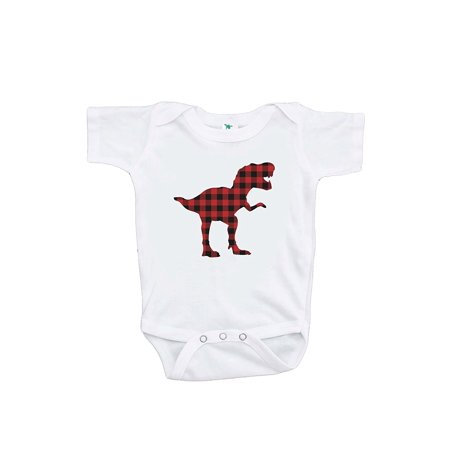 7 ate 9 Apparel Baby's Plaid Dinosaur Onepiece - 0-3 Month Onepiece