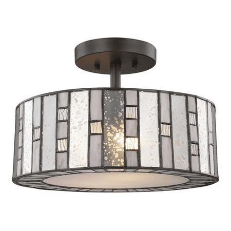 Semi Flush 2 Light With Tiffany Bronze Finish Mercury Gray and Clear Rippled Medium Base 14 inch 200 Watts - World of Lamp