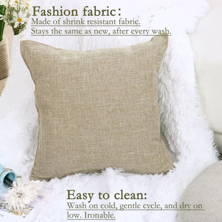 Decorative Square Linen Cushion Cover Case for Couch 18 x 18 Inch Beige Set of 2 - image 5 de 7