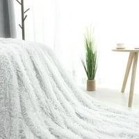 Extra Warm Shaggy Faux Fur Plush Throw Blanket,Throw, White
