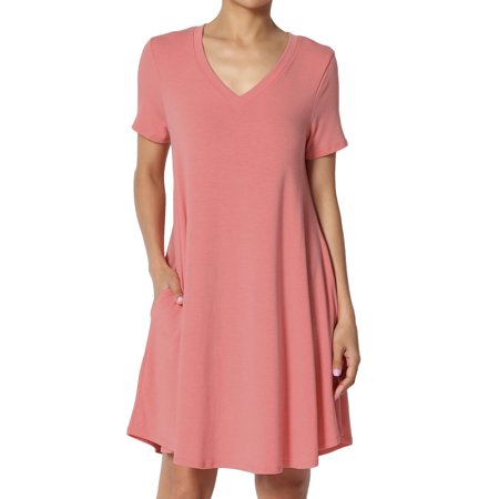 TheMogan Women's S~3X Short Sleeve V-Neck Draped Trapeze Pocket Short Tunic - Casual Pink Dresses