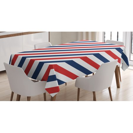 Harbour Stripe Tablecloth  Vintage Barber Pole Helix Of Colored Stripes Medieval Contrast Design  Rectangular Table Cover For Dining Room Kitchen  60 X 84 Inches  Blue Red White  By Ambesonne