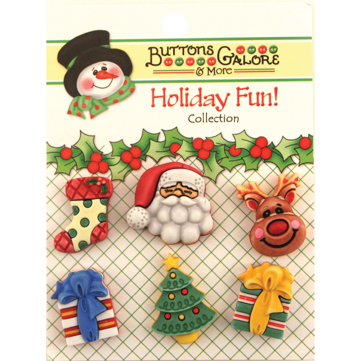 Holiday Buttons-Here Comes Santa Multi-Colored