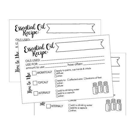 25 4x6 Essential Oil Recipe Cards, Doterra, Young Living YL, Blank DIY Aromatherapy Recipe Notebook Journal Organizer or Binder Book Beginner Beauty Therapy Diffuser Perfume Recipe Blending Guide Card