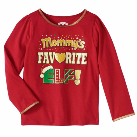 Toddler Girls Mommy's Favorite Elf Christmas Snowflake & Santa Hat Tee Shirt (Baby And Mommy Halloween Costumes That Match)