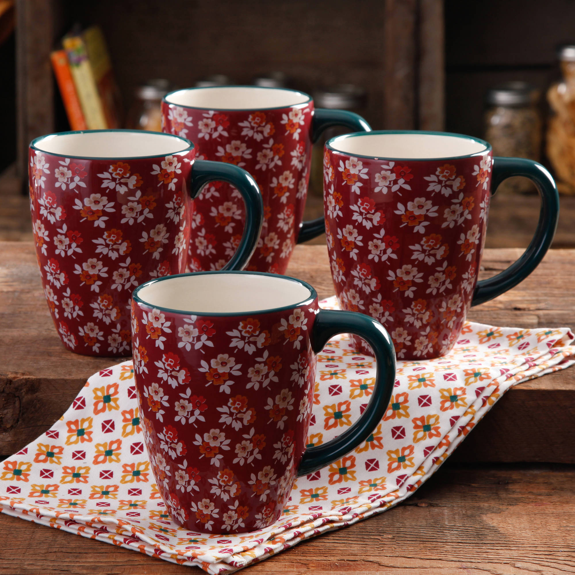 The Pioneer Woman Fall Flowers 26-Ounce Jumbo Latte Mug Set, 4-Pack
