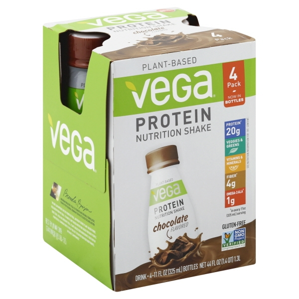 Vega Plant-Based Protein Nutrition Shake, Chocolate, 20g Protein, 4 Ct