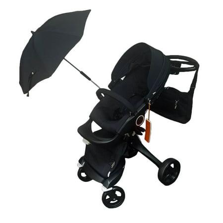 Stokke Xplory Baby Stroller in TRUE BLACK Bundle Limited (Stokke Footmuff)