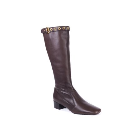 Car Shoe By Prada Brown Leather Knee High Boots