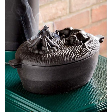 Cast Iron Dog Design Wood Stove Steamer Kettle / Humidifier, Black ()