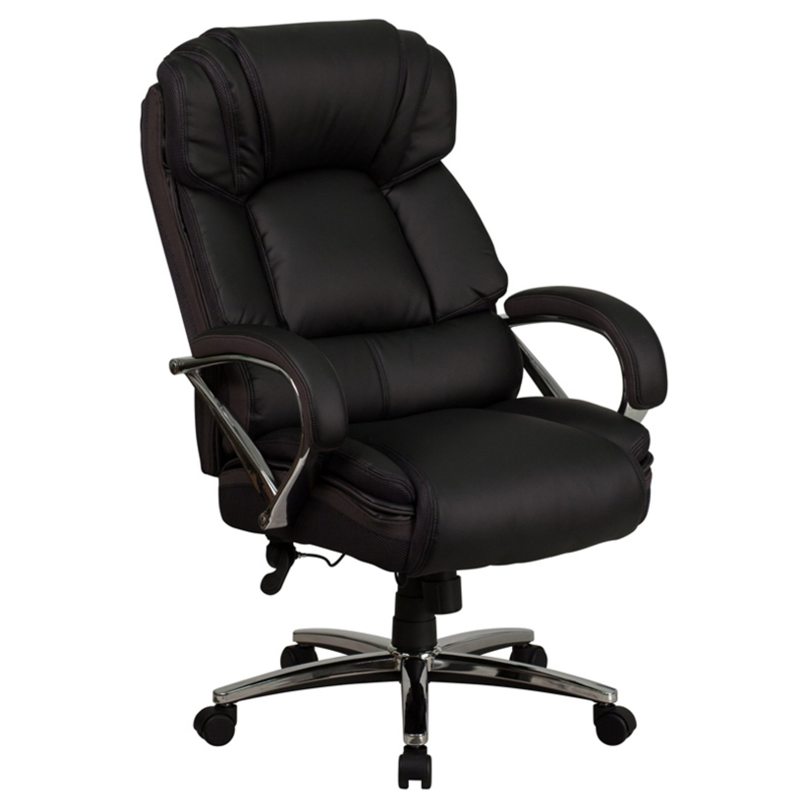 Flash Furniture HERCULES Series 500 lb Capacity Big and Tall Black Leather Executive Swivel Office Chair with Padded Leather Chrome Arms