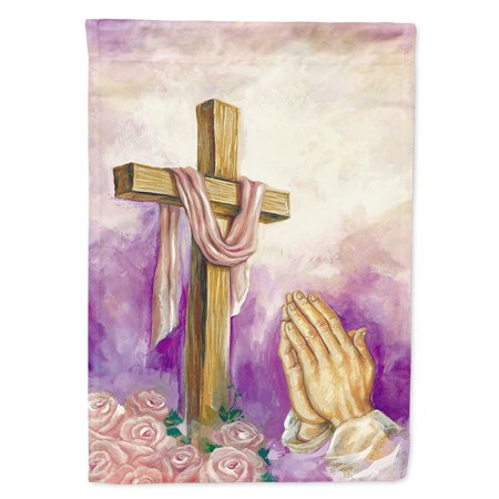 Easter Cross with Praying Hands Flag Canvas House