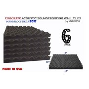 6 PACK Premium 2-inch EGGCRATE Convoluted Acoustic Foam Wall Panel Studio Soundproofing Wall Tiles 12 X 12 Inches, Made in USA