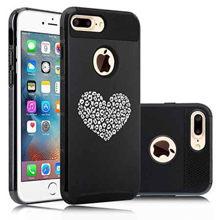 For Apple (iPhone 8 Plus) Shockproof Impact Hard Soft Case Cover Leopard Print Love Heart (Black) (Black Leopard Hard Case)