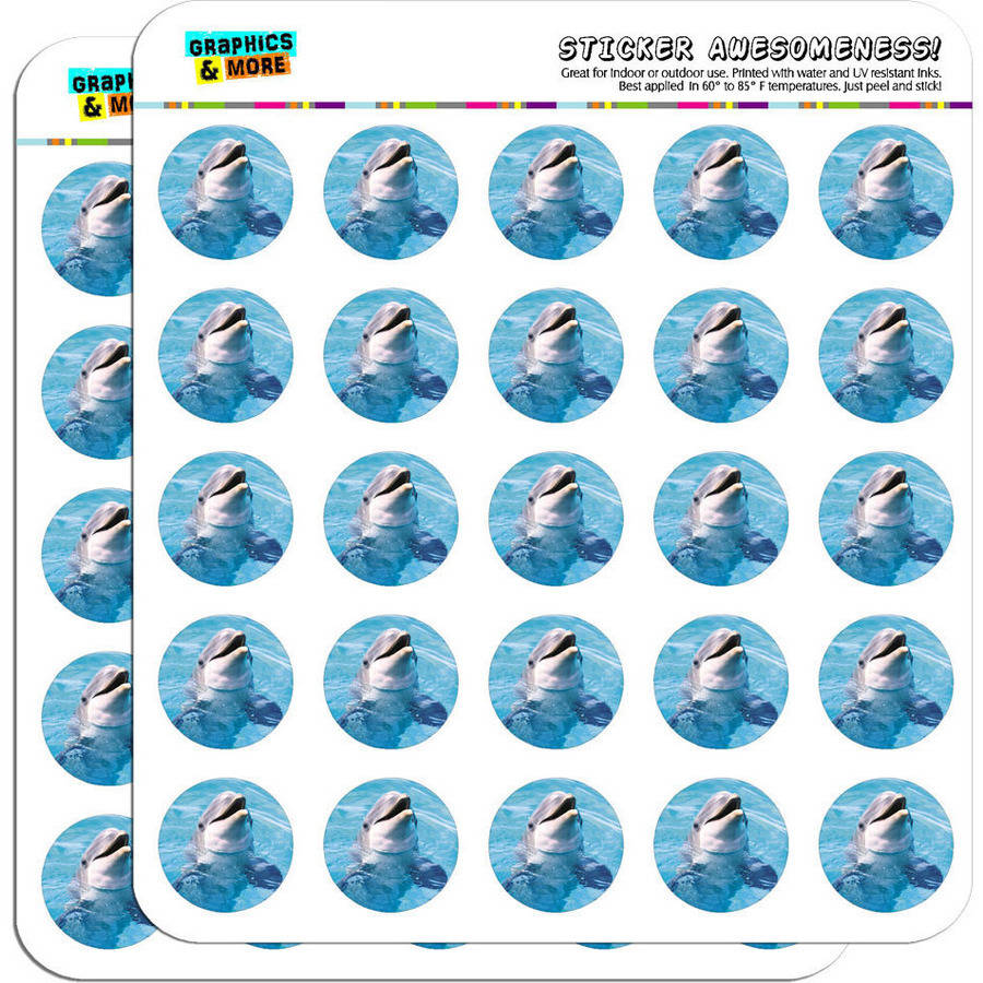 "Dolphin in the Ocean 50 1"" Planner Calendar Scrapbooking Crafting Stickers"