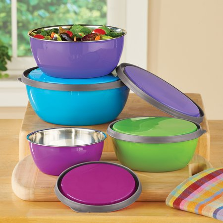 Colorful Stainless Steel Kitchen Nesting Bowls with Lids to Store, Prep, Serve - Set of 4, 12 oz - 38 oz. Admiral Steel Bowls