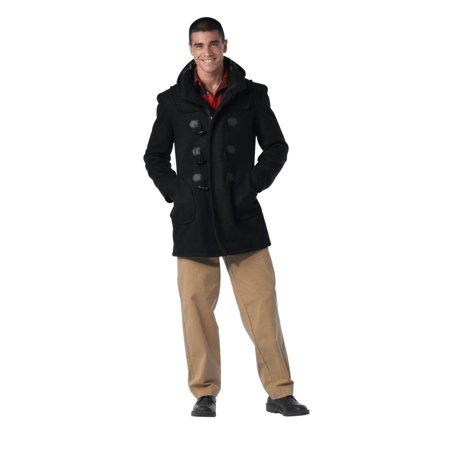 - Black Wool Navy Duffle Coat, X-Large