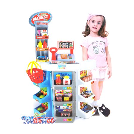 KARMAS PRODUCT Kids Grocery Supermarket Shop Stand and Cash Register Play Set Toy 36pcs