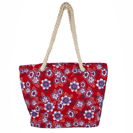 - Lux Accessories Womens Extra Large Zip Up Beach Tote Bag Red Flowers