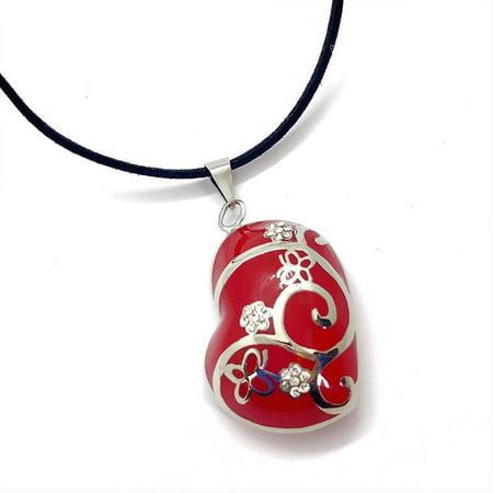 Cubic Zirconia Enamel Heart (ON SALE - Red Enamel CZ Flowered Stainless Steel Heart Necklace Red)