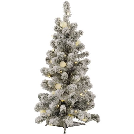 Moonlight Spice (Vickerman 3' Flocked Kodiak Spruce Artificial Christmas Tree with 50 Warm White LED and 15 Warm White G40 LED Lights )