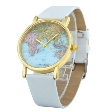 Zodaca - Zodaca White Classic World Map Globe Fashion Leather Strap ...