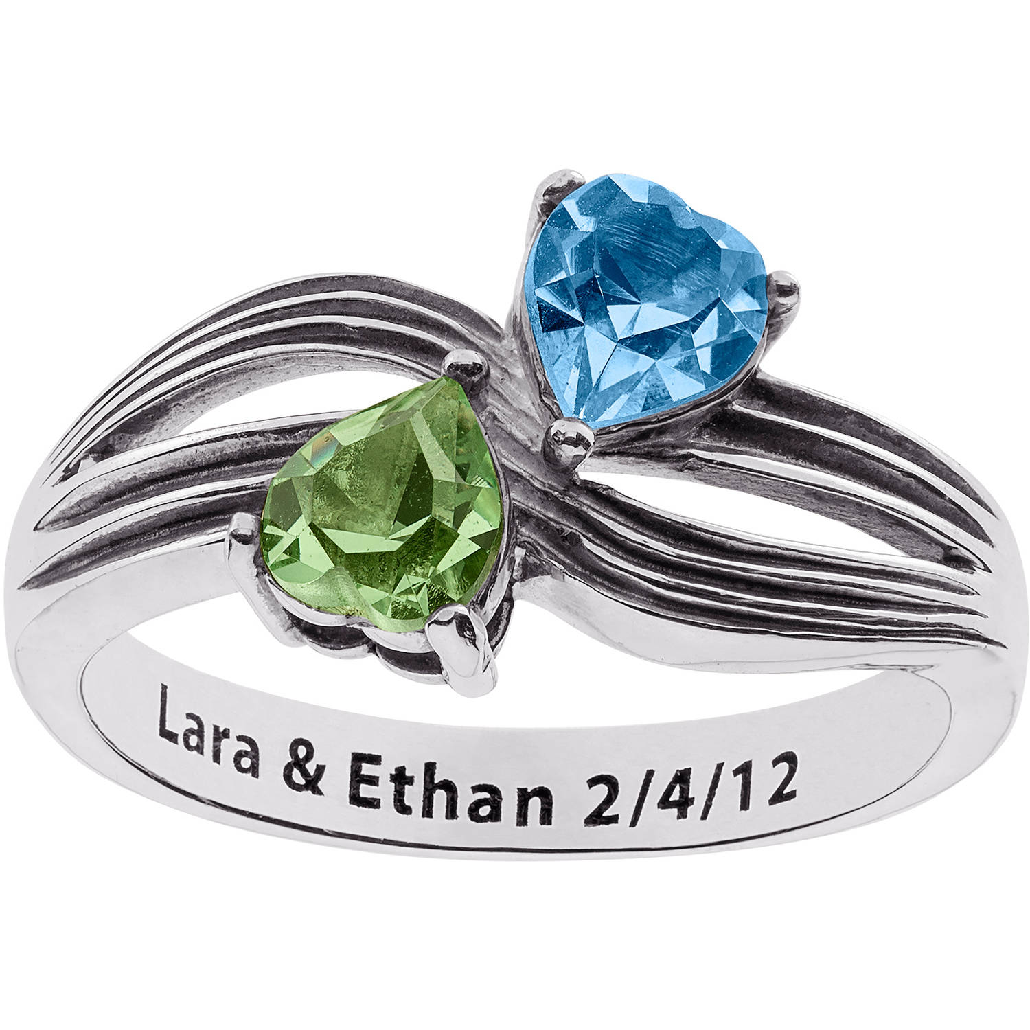 Personalized Sterling Silver Couple's Twin Heart Birthstone Fancy Band Ring