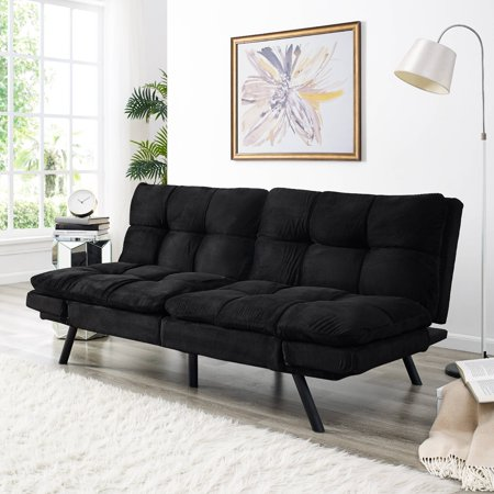 Simmons Portland Convertible Sofa With Memory Foam Seating Black