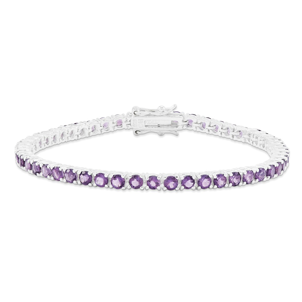 925 Sterling Silver Round 4.5cttw Amethyst Tennis Bracelet by