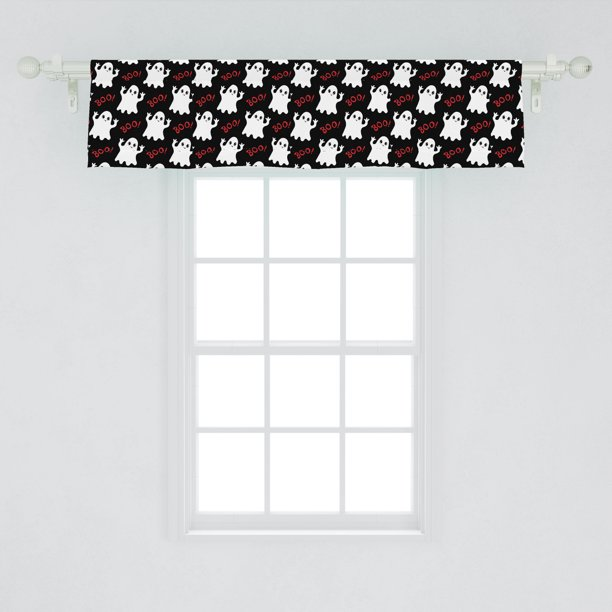 Ghost Window Valance Happy Halloween Theme Silly Ghosts On Black Boo Texts Pattern Curtain Valance For Kitchen Bedroom Decor With Rod Pocket By Ambesonne Walmart Com Walmart Com