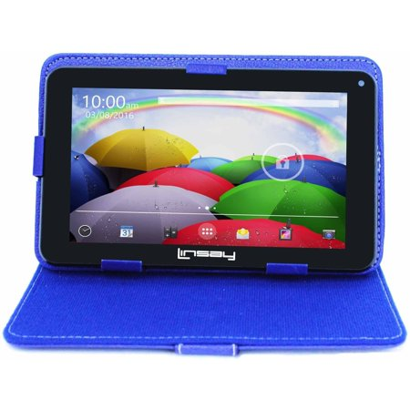 """LINSAY 7"""" HD Quad Core Android Tablet Bundle with Protective Case - Blue Android 9.0 PIE 2GB Ram 16GB Storage"""