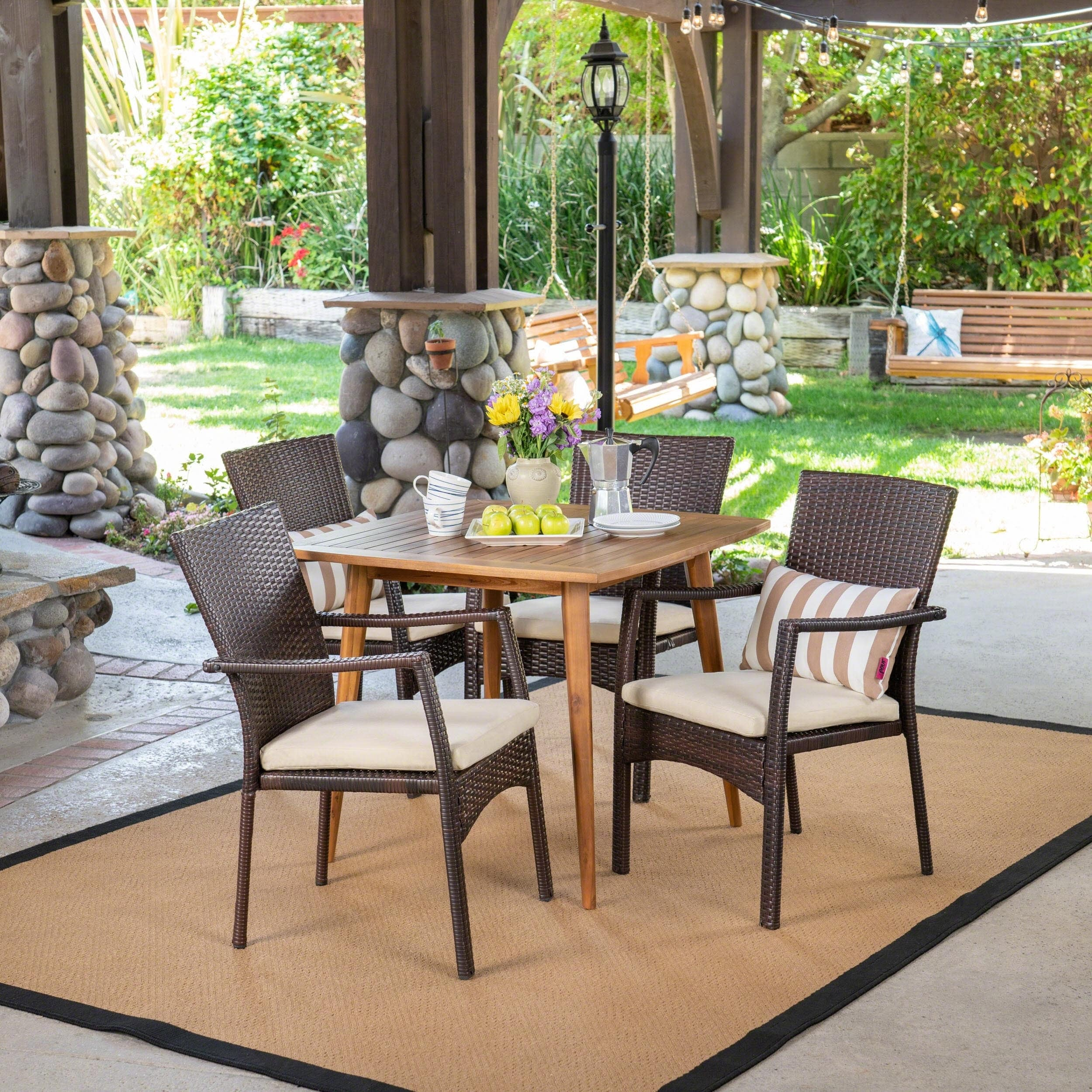Christopher Knight Home Marias Outdoor 5 Piece Wood and Wicker Dining Set by
