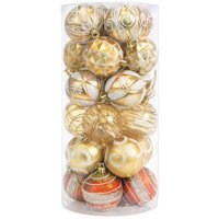 Best Choice Products Set of 24 Handcrafted Decorative Shatterproof Christmas Ornaments w/ Glitter Design - Gold