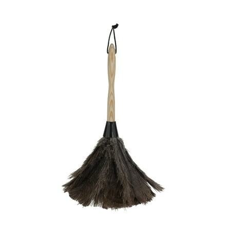 """Casabella Feather Duster, Wood Handle, 14"""", Premium Ostrich Feathers, Leather Hanging Loop Economy Ostrich Feather Duster"""