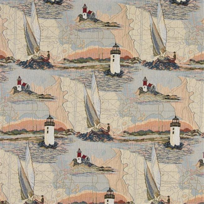 Designer Fabrics A006 54 in. Wide , Lighthouses, Calm Water, Sailboats, Themed Tapestry Upholstery Fabric
