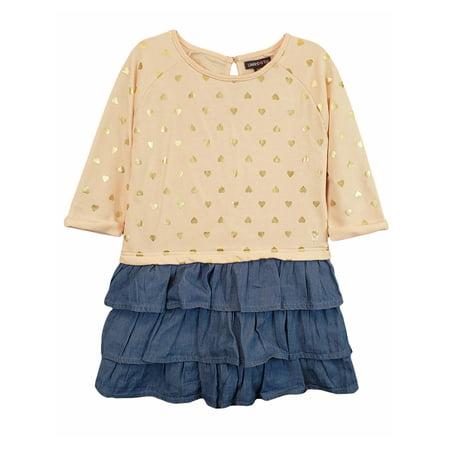 Long Sleeve French Terry & Denim Ruffle Dress (Toddler Girls)](Denim Girls Dress)