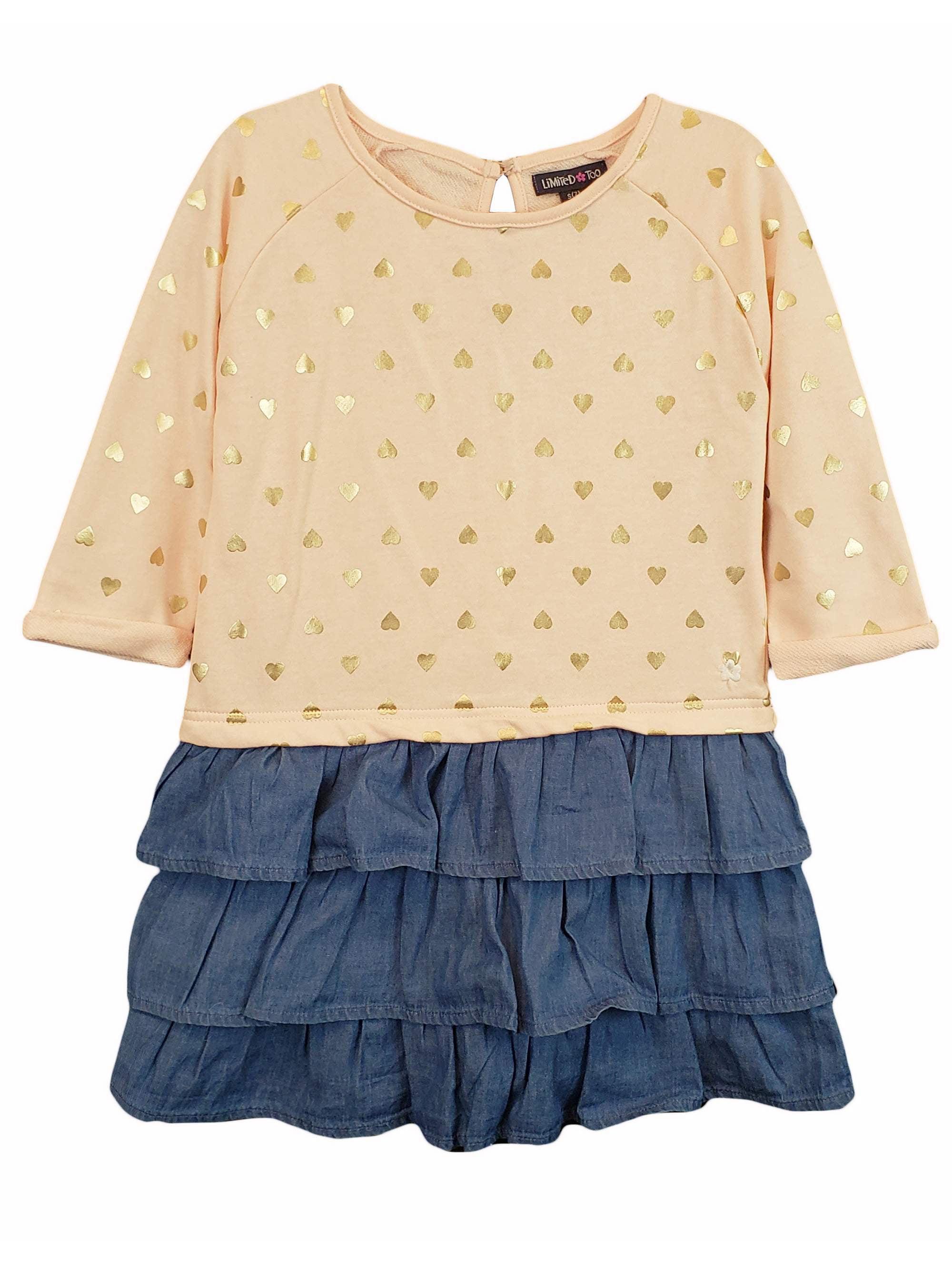 Long Sleeve French Terry & Denim Ruffle Dress (Toddler Girls)