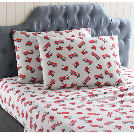 KiKi Fire Truck Polyester Kids Sheet Set (Set Fire To The Rain Sheet Music)