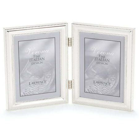 510745D Silver Plated Double Bead 4x5 Hinged Double Picture Frame ...