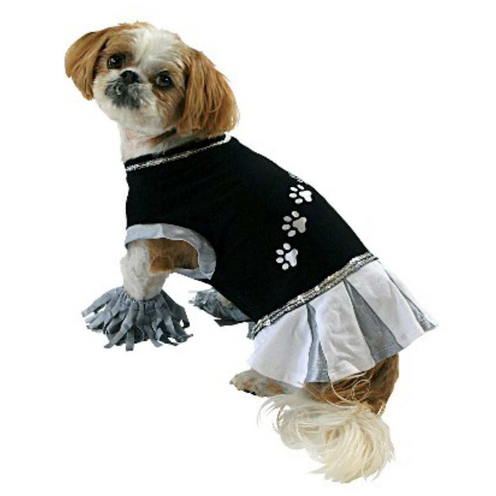 Cheerleader Dog Costume Cheer Leader Pet Tee Halloween T-Shirt & Pom Poms